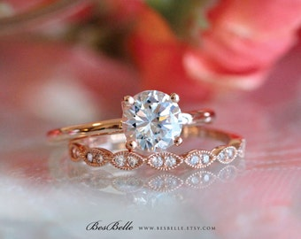 1.42 ct.tw Bridal Ring-Round Solitaire Engagement Ring-W/ All or Half Eternity Band Ring-Rose Gold Plated-Sterling Silver [61333RG-2]
