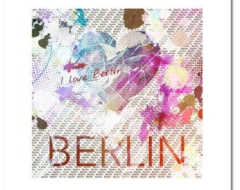 I LOVE BERLIN POSTER limited edition. 60 x 60 cm 7 piece Berlin poster. Special limited edition Berlin image limited Berlin poster Berlin