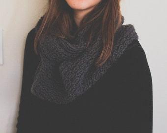 SALE - Textured Women's Handknit Cowl // Infinity Scarf { Dark Gray }