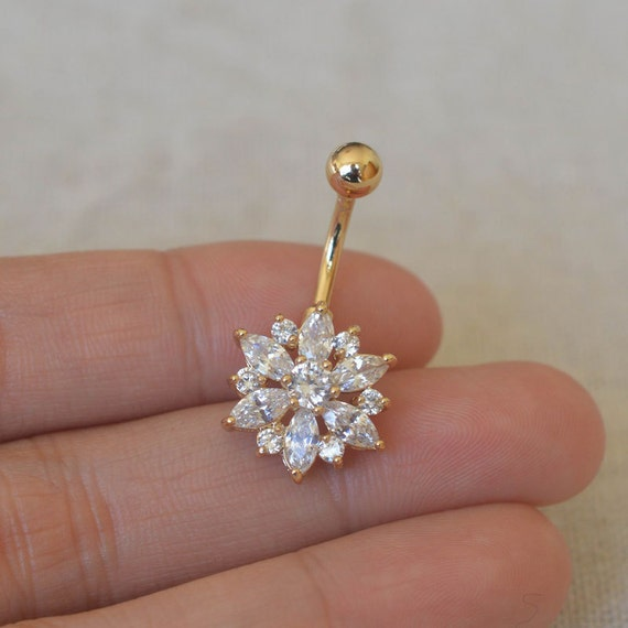 bellybutton rings stunning diamond flower by vickybodyjewelry. Black Bedroom Furniture Sets. Home Design Ideas
