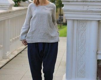 Linen blouse. Natural linen blouse / Plus Size Linen Clothing / linen shirt / linen top