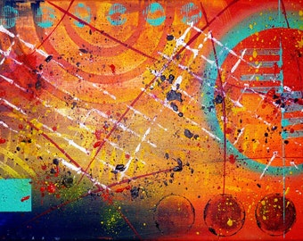PuraVida - Abstract painting modern contemporary 20 x 50 cm