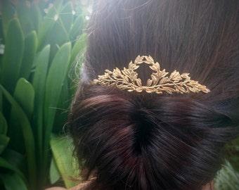 Laurel Hair Comb Gold Laurel Wreath Hair Comb Bridal Hair Comb Grecian Hair Greek Wedding Bridal Headpiece Greek Hair Accessories