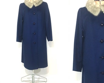 1960's Coat | Botony Navy Blue Full Length Coat w/ Fur Collar | Size: Small-Medium