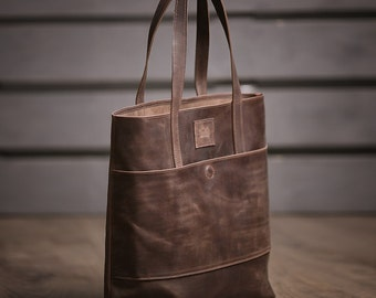 Leather tote bag, Leather bag woman, Shopper bag, Shoulder bag, Brown leather bag, Wife gift, Girlfriend gift,  Gift idea for woman