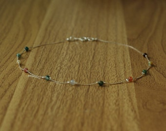 Thin silver chain choker// jade beaded silver necklace