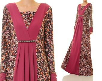 Floral Maxi Dress Long Sleeve | Jersey Abaya Maxi Dress | Plus Size Maxi Dress | Long Sleeves Maxi Dress Floral Bohemian Dress 6337/2995