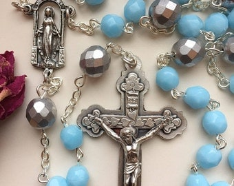 Turquoise Blue Handmade Rosary, Sky Blue, Czech Fire Polished Glass, Virgin Mary in a Grotto with Stars, Bright and Energetic, Free Ship USA
