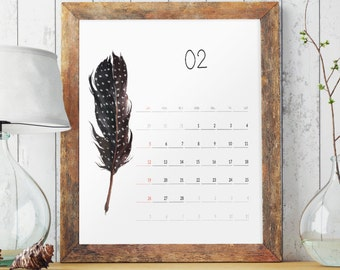 Feathers Calendar 2017, Wall calendar 2017, Wall calendar large, Yearly wall calendar Printable calendar,Monthly calendar Feather art BD7003