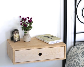 floating nightstand with drawer mid century modern bedside table in solid maple
