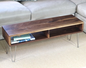 Coffee Table, End Table, Mid-Century Modern, with Stainless Hairpin Legs in Walnut