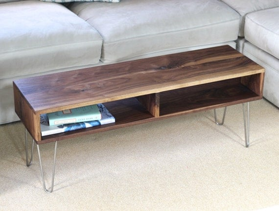 Mid Century Modern Coffee Table With Stainless Hairpin Legs In Choice Of Hardwood The Hippie