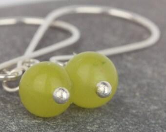 Natural stone earrings ~ jade stone drop dangle earrings ~ Korean Jade beads ~ handmade silver earrings ~ unusual silver dangle earrings