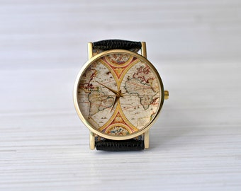 Gift for her map watch travel gift gift for women world christmasgiftgiftforwomenworldmapwatch gumiabroncs Choice Image
