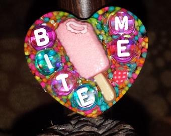 Bite Me Charm Necklace Key Chain Magnet Bag Charm Pin