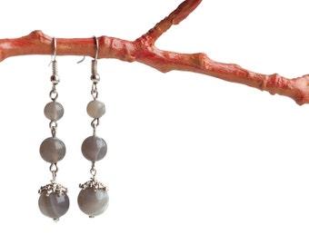 Grey stone earrings, Grey drop earrings, Grey earrings drop,Grey agate earrings, Grey dangle earrings, Grey stone drop earrings