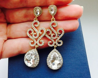 Gold Wedding Earrings Rhinestone bridal Earrings Long  Earrings  Crystal Bridal Earrings Chandelier earrings Swarovski earrings Gold Wedding