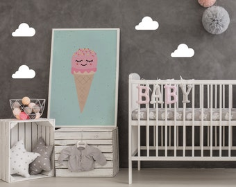 Ice Cream Print, Kids Poster, Ice Cream Poster, Kids Room Decor, Nursery Wall Art, Illustration Ice Cream, Nursery Decor, Baby Print Poster