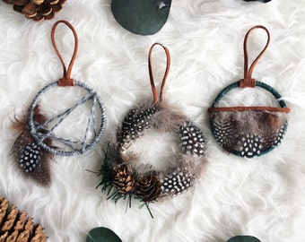 Woodland Christmas Ornament - Small Dream Catchers - Boho Christmas Tree Ornaments - Modern Rustic Dreamcatchers - Holiday Cabin Decor