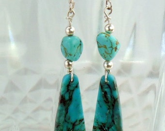 Turquoise earrings, Turquoise and sterling silver dangle earrings, turquoise drop earrings, Turquoise jewelry