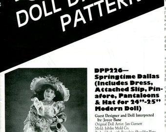 FREE US SHIP Poissot Doll Dress Pattern dpp226 Springtime Dallas 24 25 Modern 1994 Sewing Pattern Insert From Dollcrafter Vintage Magazine