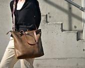 Distressed Leather Zipper Shoulder Bag, Leather Cross Body, Brown Tote, Leather Tote Bag, Leather Diaper Bag, Laptop Bag, Leather Bag