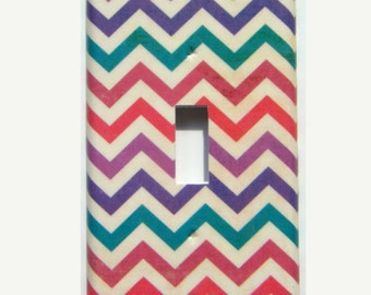 Chevron Light Switch Cover, Purple,Teal,Red Chevron Switch Plate, Rainbow Chevron Switch Cover