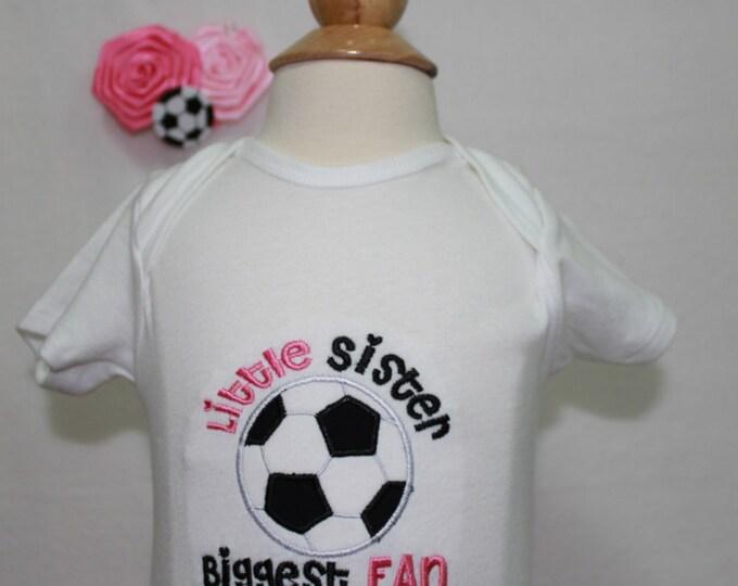Soccer shirt, Little sister soccer shirt, Baby girls soccer shirt, Girls soccer shirt, Soccer applique, Soccer hair clip,Soccer bodysuit