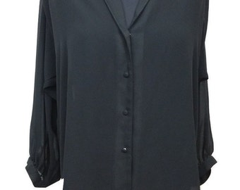 Vintage Oversized Shirt by Jacques Vert in Black Size 12 Button Down Front - 1990s - Excellent Condition - Free Postage