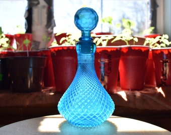 Beautiful Blue Diamond Cut Decanter Made in Italy