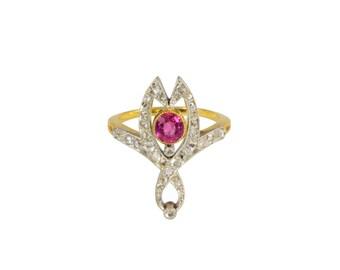Edwardian ruby and diamond Art Nouveau ring, circa 1910.