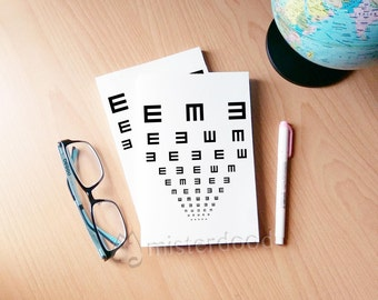 EYE TEST Notebook, Gift for Optometrist, Simple Nordic Designs, Black and White Bnw, Gift for Him, Doctor Diary, Midori Journal, Myopia