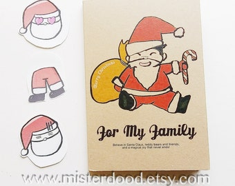CUSTOM TEXT Notebook, Merry Christmas, Cute Santa Claus, Lovely Art Journal, Quote, Illustrated Cardstock Diary, Sweet Gift Friends Family