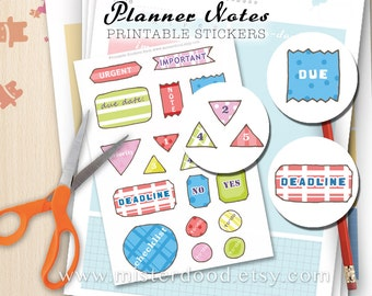 Checklist Printable Sticker, Planner Notes Tabs, To-Do Reminder Deadlines, Cute Kawaii Doodle, Scrapbooking Montage Collage Diary Journal