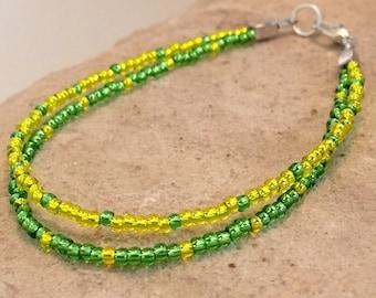 Yellow and green double or single strand seed bead bracelet, Toho seed bead bracelet, silver bracelet, boho bracelet, yoga bracelet