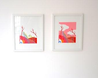 Screen printed poster - silkscreen illustration - small poster - illustration