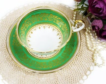 Aynsley Teacup, Green and Gold, Doris Shape, Gold Gilding, Vine Leaves, Collectible Teacup, Tea Cup and Saucer, English Bone China, Antique