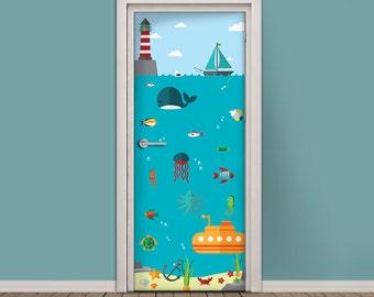 Kids Door Sticker   Vinyl Wallpaper   Adhesive Decal Wrap   Nautical Scene  With Submarine