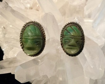 Vintage Mexican Silver Mayan Aztec Faces Tribal Jade stone Earrings