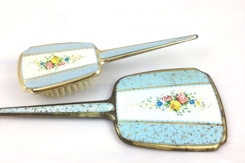 Vintage Mirror and Brush Set / Vintage Vanity Set / Vintage