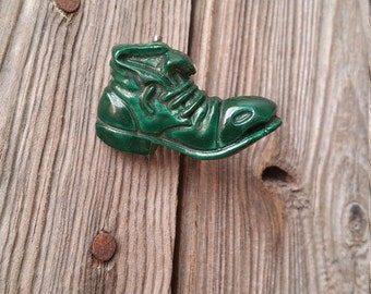 "French Vintage Green Bakelite or Resin ""Boot"" Brooch"