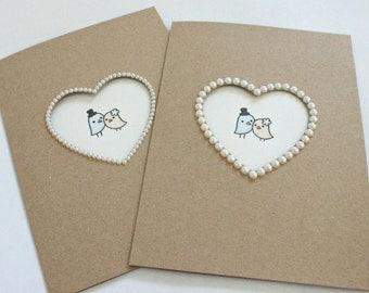 Pearl Wedding Card Wedding Card Congratulations Wedding Card Personalised Wedding Card Funny Love birds Bride And Groom Gift