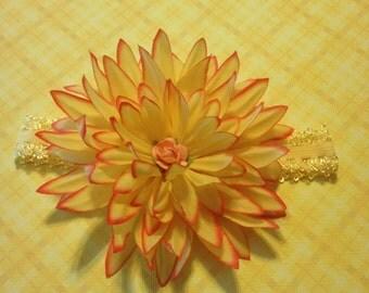 Flower Headband, Elastic Yellow Headband, Yellow & Orange Zinnia Flower Headband