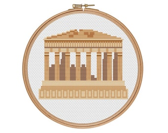 Parthenon cross stitch, Acropolis cross stitch, Greece cross stitch, Ancient Greece, Athens, Easy cross stitch, Cross stitch pattern, PDF