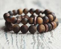 Brown bracelet tiger eye bracelet Mens matte bracelet Beaded bracelet double boho accessories Energy gemstone meditation gift for boyfriend