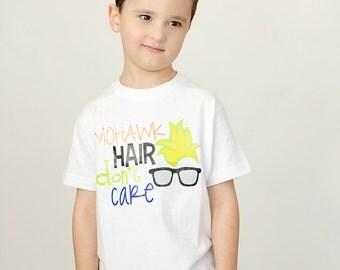 Little Boy Shirt Mohawk Hair Don't Care Boys Clothing Clothes Childrenswear