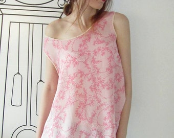 Pink Sleeveless Loose Top / Pink Lace Print / Tank Top by FabraModaStudio / TO702