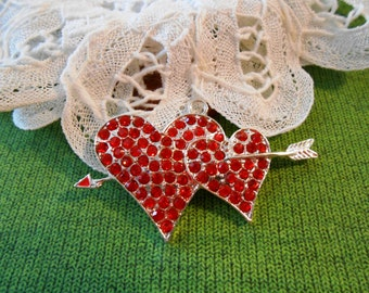 1 Rhinestone Heart Pendant Silver Double Hearts Necklace Charm Red Heart Charms Love Valentines Christmas Wedding Bridal Jewelry Supplies