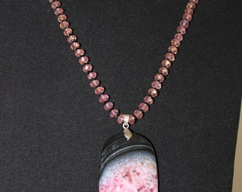 Semi precious Agate with multi faceted pink glass beads