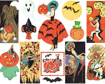 Printable Halloween Art Deco 1920s Digital Clipart Images Witches Ghosts Black Cat Jack O Lanterns Pumpkins Instant Digital Download